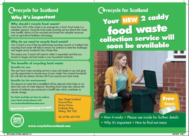 Recycle For Scotland Food Waste Recycling 2 Caddy