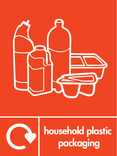 Household plastic packaging (no film) signage - assorted plastics icon with logo (portrait)