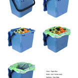 Pigeon blue food waste kitchen caddy shown with and without compostable liner