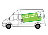 'Recycle your old electricals with us!' Van livery
