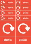 Bin & bank stickers - plastics text + logo
