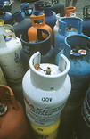 Empty gas canisters for recycling