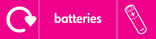 Batteries signage - battery icon with logo (landscape)