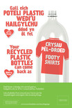 Good to Know - poster & pull-up templates - transformation message - plastic bottle - 'Footy Shirts' (red) - builingual - Welsh first
