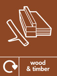 Wood & Timber signage - wood icon (branch) with logo (portrait)