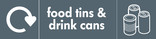 Food tins and Drink cans signage - tin & cans icon with logo (landscape)