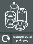 Household metal packaging (cans,foil & aerosol) signage - assorted cans & foil icon with logo (portrait)