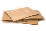 Flattened cardboard boxes