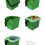 Green food waste kitchen caddy shown with and without compostable liner