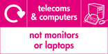 Telecoms & Computers (not monitors or laptops) signage - computer & fax icon with logo (landscape)