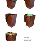 Large brown food waste kitchen caddy - with and without compostable liner