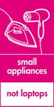 Small appliances (not laptops) signage - iron & hairdryer icon (portrait)