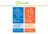 Paper and Plastic Bottles recycling bin sticker