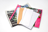 Newspaper, envelopes, magazine