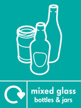 Mixed glass signage - bottles & jars icon with logo (portrait)