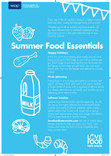 Tip card (reverse of recipe cards and poster),summer food essenatials ,WRAP version