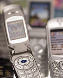 Old mobile phones - close up of flip phone