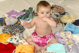 Baby with re-usable nappies