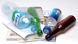 Newspapers, plastic bottle, green glass bottle, brown glass bottle, plastic water bottle