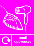 Small Appliances signage - iron & hairdryer icon with logo (portrait)