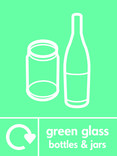 Green glass signage - bottles & jars icon with logo (portrait)