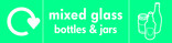 Mixed glass signage - bottles & jars icon with logo (landscape)