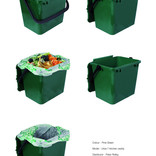 Dark green food waste kitchen caddy shown with and without compostable liner