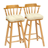 Light wooden stools with covered seats