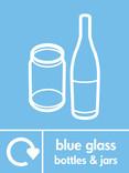 Blue glass signage - bottles & jars icon with logo (portrait)