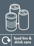 Food tins and Drink cans signage - tin & cans icon with logo (portrait)