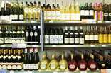 Shelves of wine in supermarket