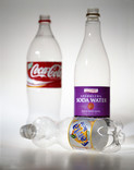 3 plastic drinks bottles - focus on soft drink bottle