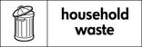 Household waste signage - bin icon (landscape)