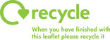 Recycle Mark with message for printed leaflets