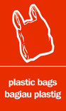 Plastic bags signage - carrier bag icon (portrait) - bilingual (English-Welsh)