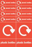 Bin & bank stickers - plastic bottles text + logo