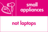 Small appliances (not laptops) signage - iron & hairdryer icon (landscape)