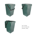 Large green food waste kitchen caddy - with and without compostable liner