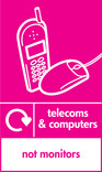 Telecoms & Computers signage - phone & mouse icon with logo (portrait)