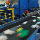 Plastics on a conveyor belt
