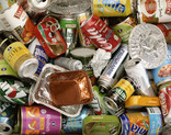 Assorted metal packaging - cans, tins, trays, foil