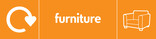 Furniture signage - couch icon with logo (landscape)