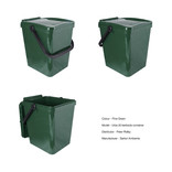 Dark green food waste kerbside container - show unlocked and locked