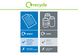 Paper and Cans multi-material recycling bin sticker