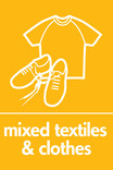 Mixed textiles & clothes signage - t-shirt & shoes icon (portrait)