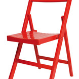Red painted wooden folding chair