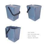 Pigeon blue food waste kerbside container - show unlocked and locked