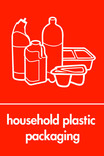 Household plastic packaging (no film) signage - assorted plastics icon (portrait)