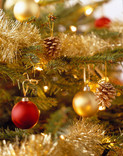Close up of Christmas tree decorations