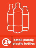 Plastic Bottles (500ml) signage - logo (portrait, Welsh-English)
